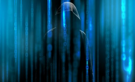 Hacker with a hood and blue binary code matrix